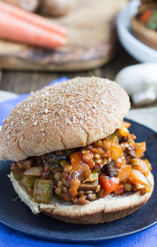 Vegetarian (and Vegan!) Sloppy Joes made with lentils, mushrooms, carrots, celery, and green bell pepper are so hearty and filling you'll forget you're not eating meat.