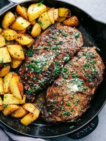 Skillet Garlic Butter Herb Steak and Potatoes--Part of The Best Steak Recipes