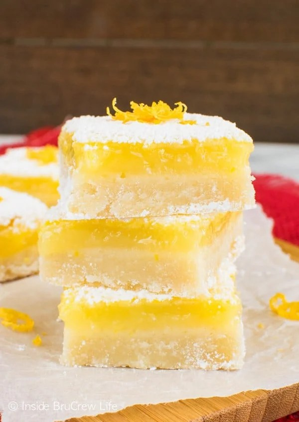 Sweet and sour mix together to make these the best Lemon Bars for your tastebuds. They are the perfect treat for spring parties or Easter dinners.