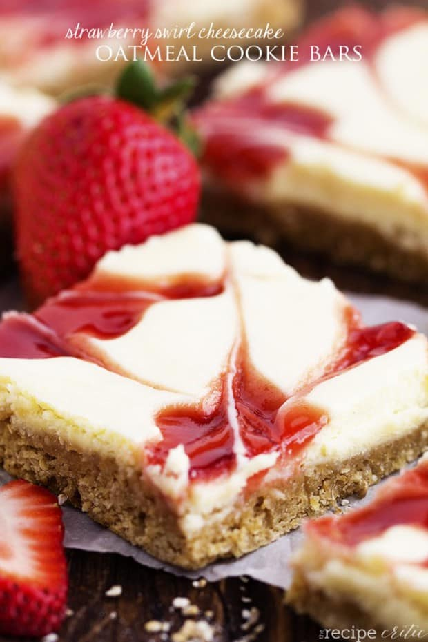 Creamy and delicious cheesecake bars swirled with strawberry and baked on top of an oatmeal cookie crust! A delicious dessert bar that the entire family will love!
