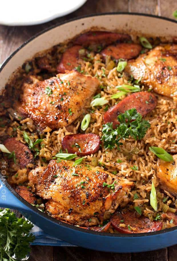 TThis one pot chicken and dirty rice is a dish washing hater's dream! The chicken is cooked on top of the rice for the most flavorful dish ever!