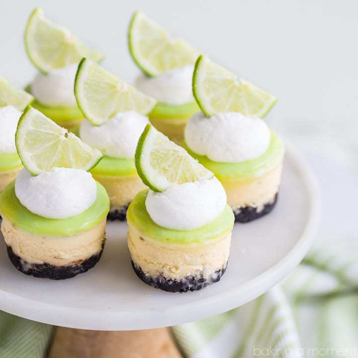 Finish out your fiesta with a dessert that complements all those Mexican flavors! These Lime Mini Cheesecakes with Chocolate Cookie Crust are cute as can be, and perfect for your party!