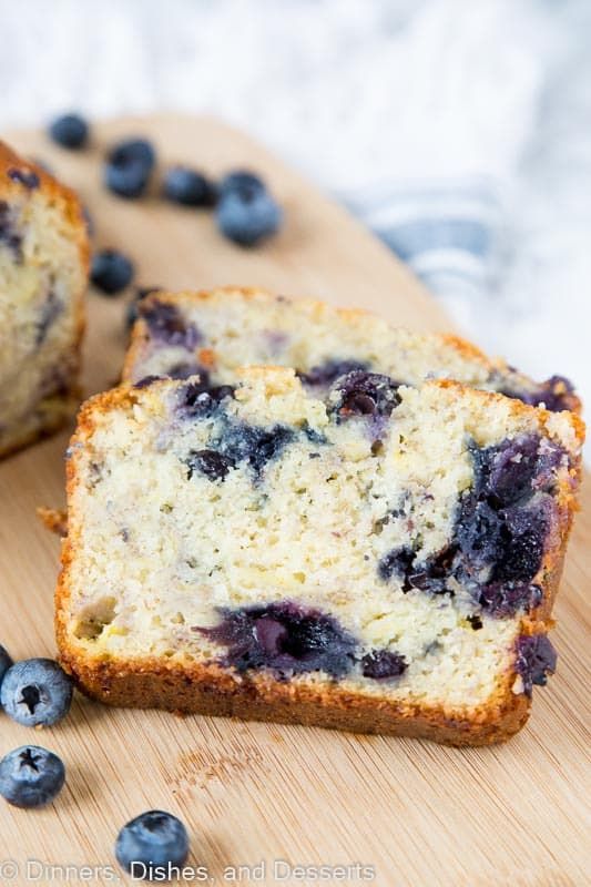 Blueberry Banana Bread – A tender and moist banana bread full of blueberries. Use fresh or frozen to make this any time of year!