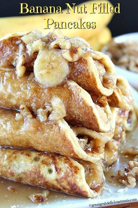 Hey pancake lovers, if you love pancakes and have sweet tooth cravings, you are going to want check theseout. Banana nut filled pancakesare what's for breakfast at our house. Each pancakeis filled with a delicious banana nut maple syrup filling, which tastes freakin' amazing