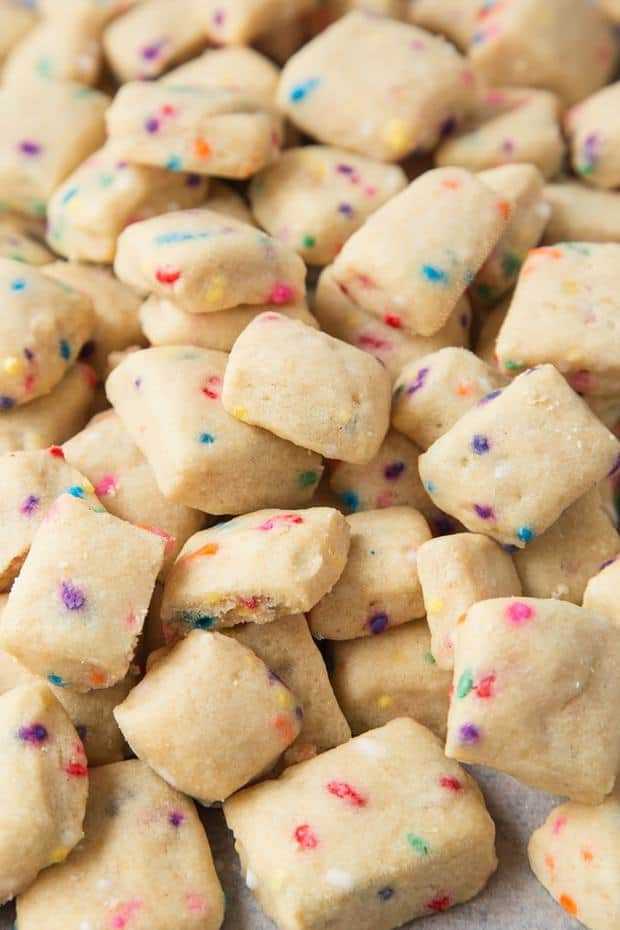 These adorable mini Funfetti Shortbread Bites are ridiculously easy to make and totally addictive. Crisp, buttery and filled with Funfetti, you'll be forgiven for not wanting to share!