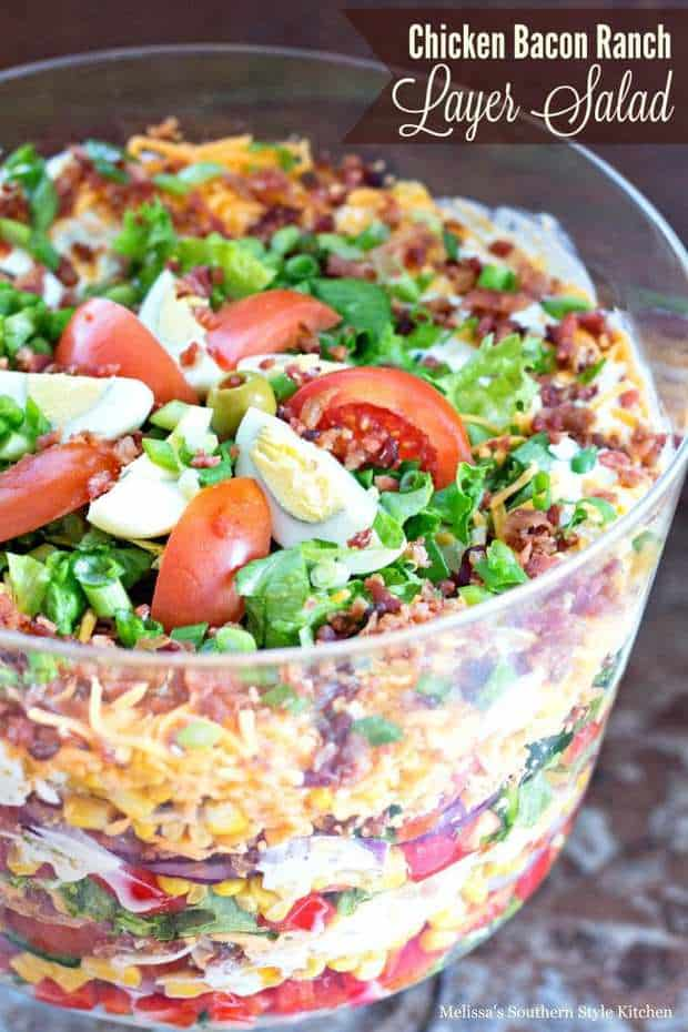 Chicken Bacon Ranch Layer Salad--Part of The Best Chicken Bacon Ranch Recipes