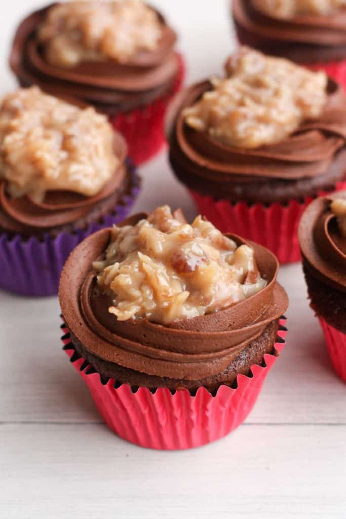 German Chocolate Cupcakes are soft and moist chocolate cupcakes with homemade chocolate and coconut pecan frosting.