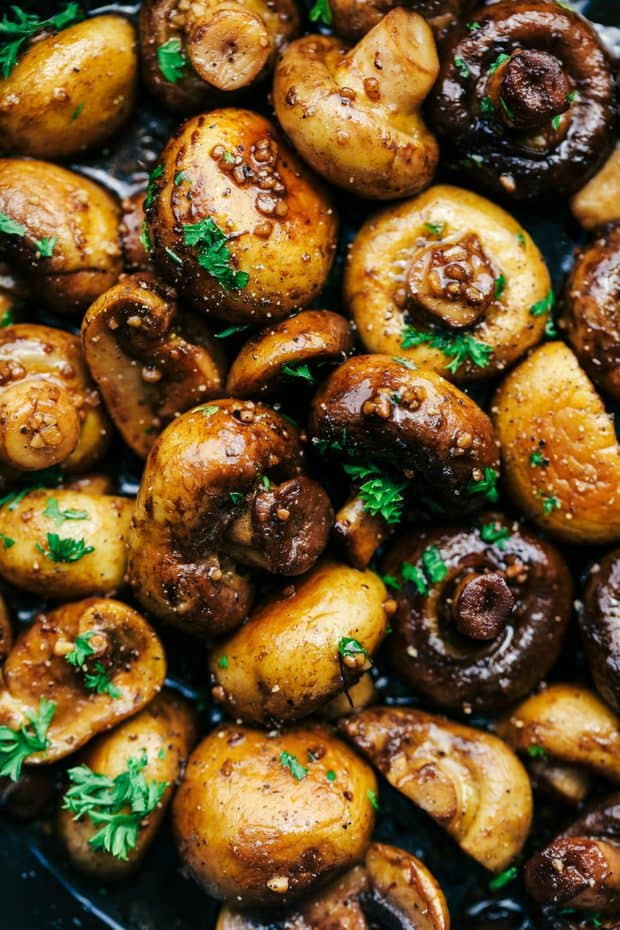 Honey Balsamic Garlic Mushroomsare sautéed in the most incredible honey balsamic garlic sauce. This makes an excellent topping for steak or chicken or is even great as a side dish!