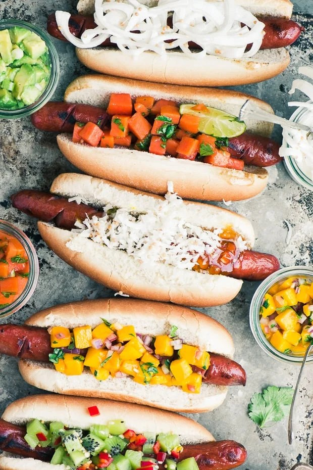 Tropical Hot Dog Bar ~ I admit it, I'm a closet hot dog lover, maybe you are too? Today I'm sharing a slew of exotic toppings, including spicy kiwi relish and Maui onion slaw, that will turn your next barbecue into an island paradise! Get ready, because it's full-on summer just ahead…