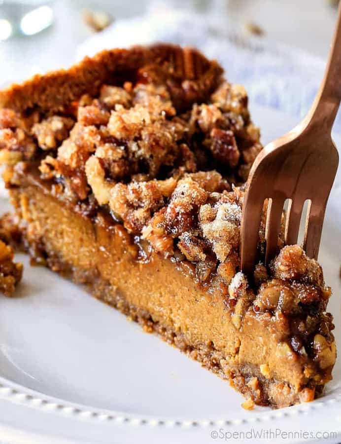 Introducing Praline Pumpkin Pie, AKA a new Thanksgiving must! Creamy pumpkin pie topped with crunchy, chewy brown sugar pecans for the perfect flavor and texture combination in every bite! Be the hero of Thanksgiving with this new twist on the comforting classics!