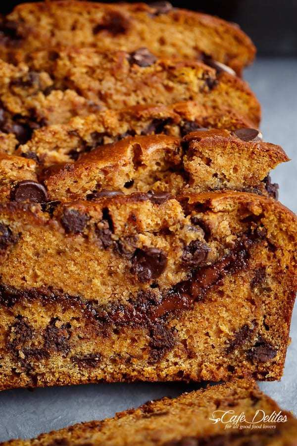 Nutella Chocolate Chip Pumpkin Bread is filled with fall flavours and melt in your mouth chocolate chips!With just a handful of ingredients, this is THEbread of the season the whole family will love!