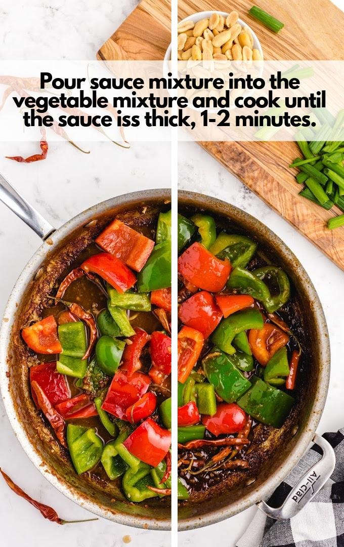 Pour sauce mix into vegetables