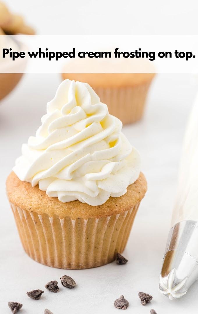 whipping cream on cupcake