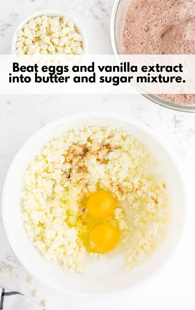 beat eggs and vanilla with butter and sugar mixture