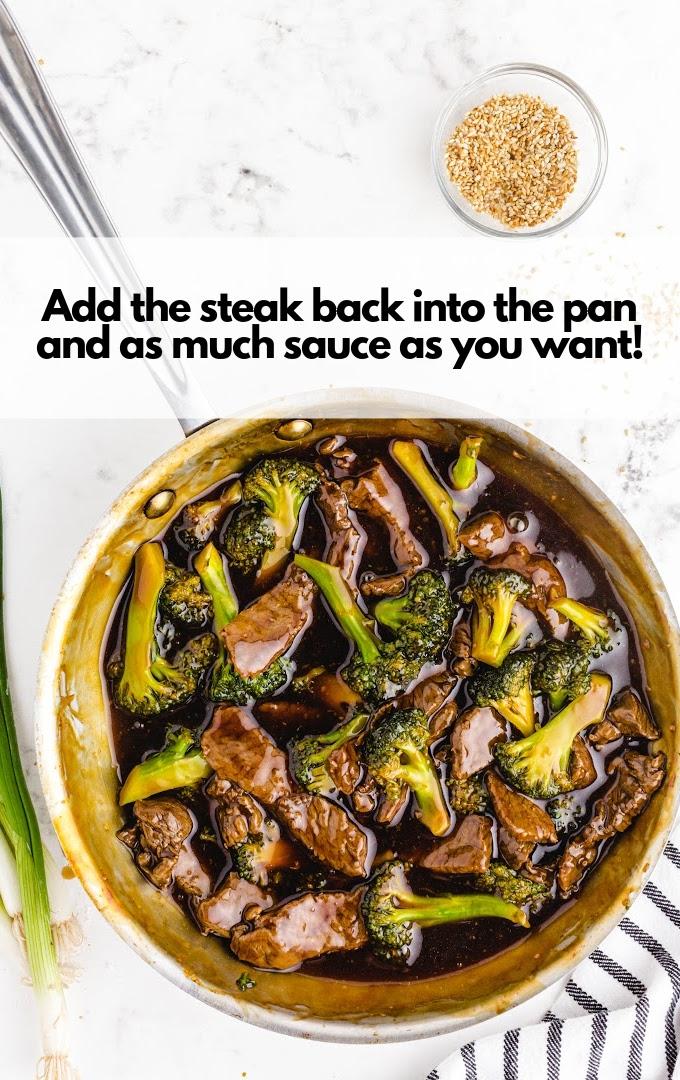 add steak to broccoli