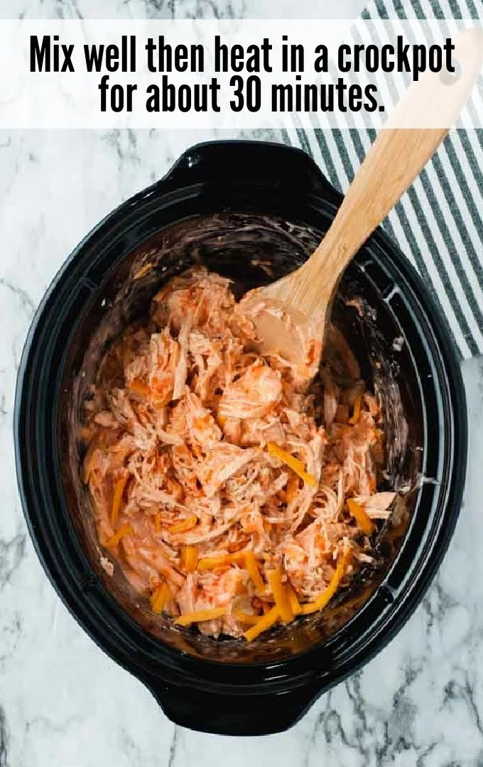 mixed shredded chicken and dipping sauce mix