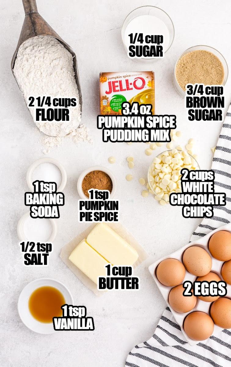 Pumpkin SpicePudding Cookies Ingredients