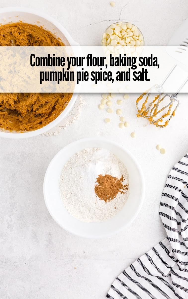 flour, baking soda, pumplin spice and salt in bowl