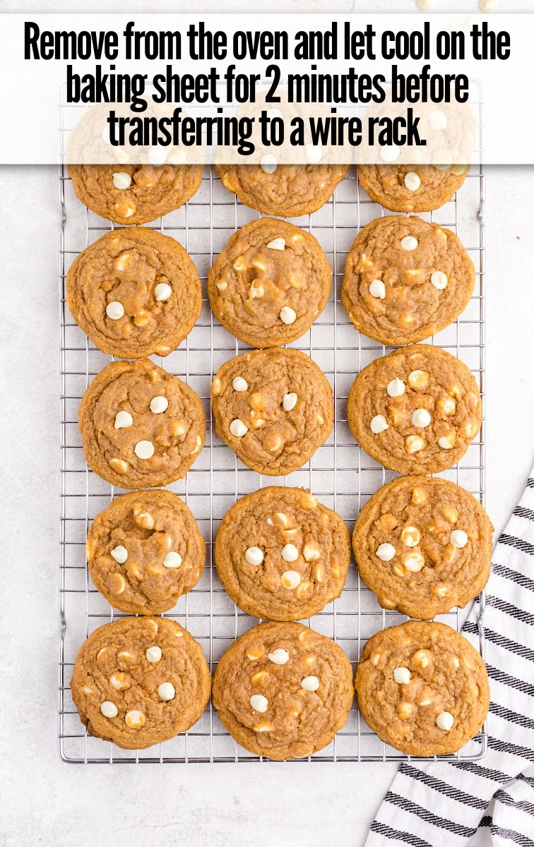 Pumpkin Spice Pudding Cookies on wire rack