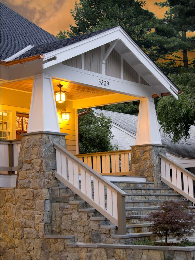 Interior Elements Of Craftsman Style House Plans Bungalow Company | Craftsman Style Exterior Stair Railings | Step | Black Iron | Fence | Craftsman House | Outdoor