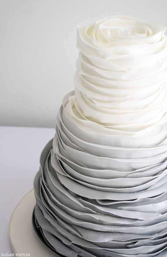 Grey Ombre Ruffles Grey Ombre Ruffled Rose Cake   by Sugar Ruffles on TheCakeBlog com