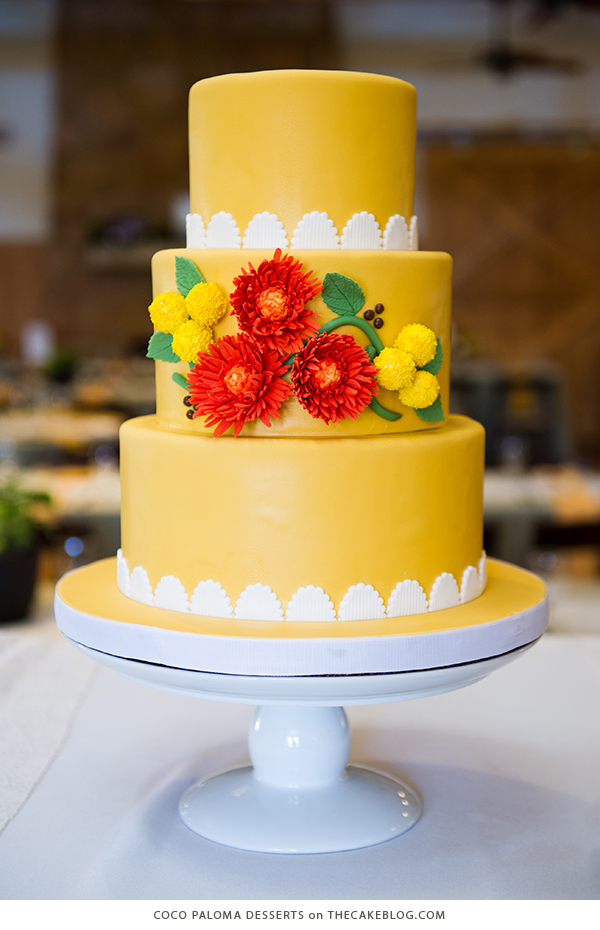 10 Brilliant Yellow Cakes 10 Yellow Wedding Cakes   including this design by Coco Paloma Desserts    on TheCakeBlog