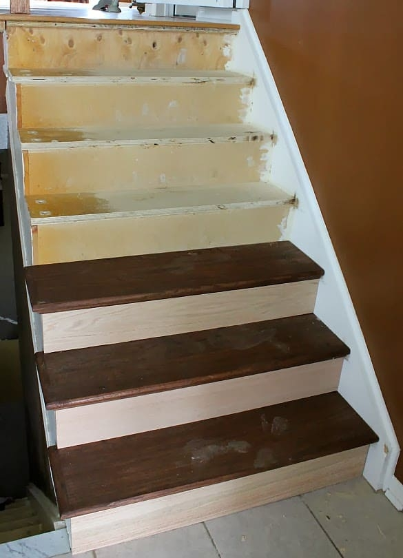 Stairway Remodel Part 3 Installing New Stair Treads And Risers | Hardwood Stair Treads And Risers | Stained | Maple | Hickory | Red Oak | New