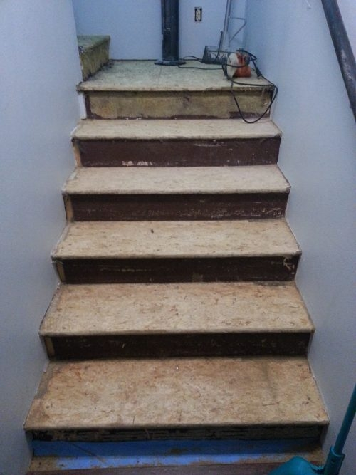 How To Makeover Osb Stairs The Created Home | Replacing Particle Board Stair Treads | Basement Stairs | Carpeted Stairs | Plywood | Stair Nosing | Stair Case