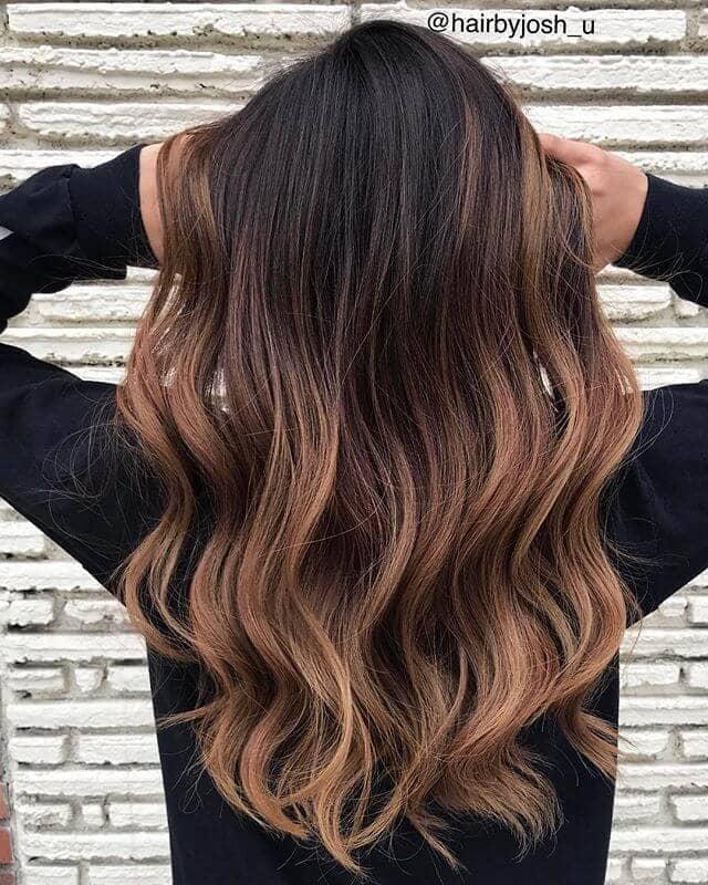 Dark Brown Hair Dip Dyed Light Brown