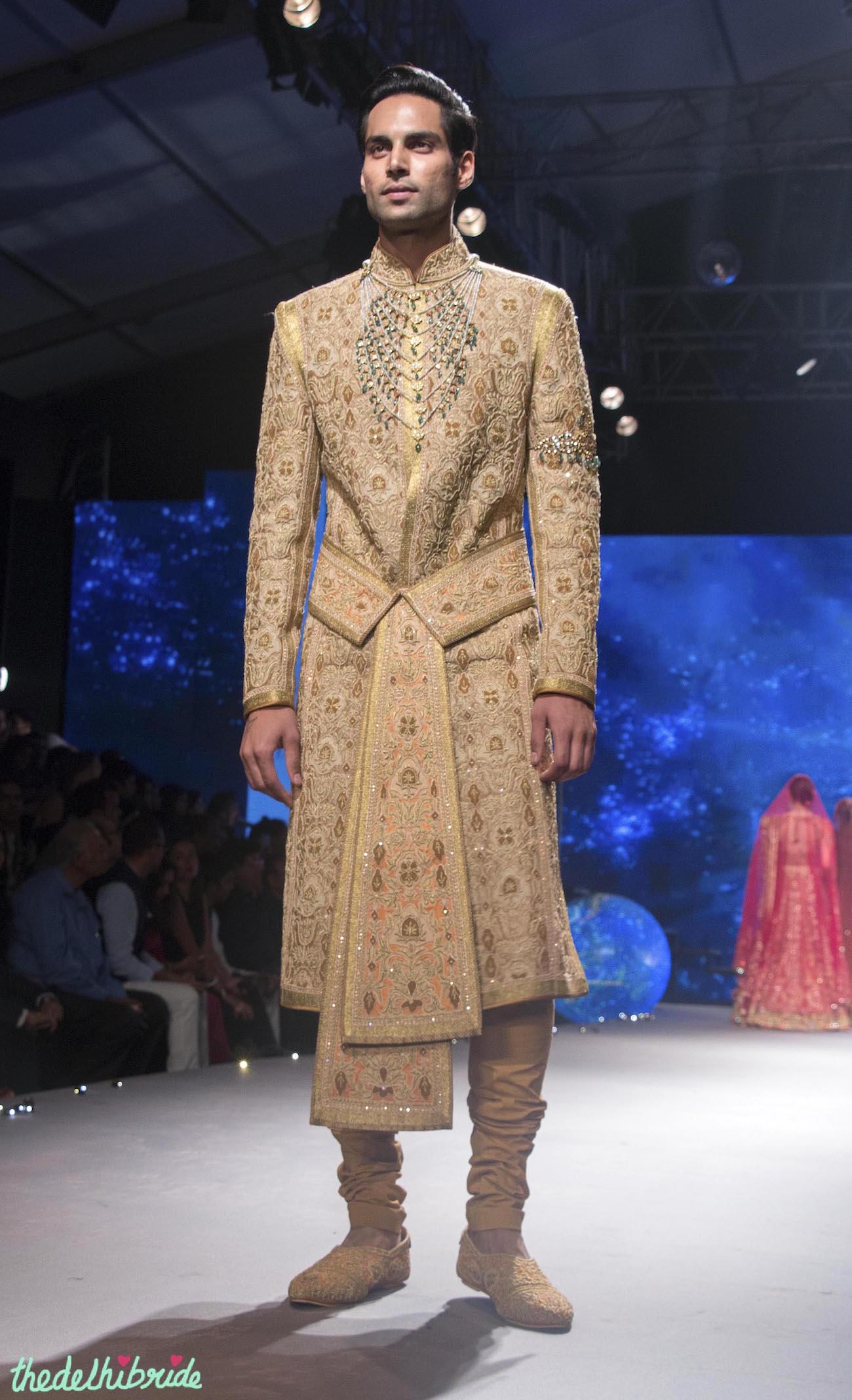 Men S Wear Sand Colour Sherwani Jacket With Zardozi