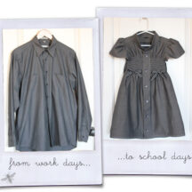 side by side before and after photo of men's work shirt and girl's dress