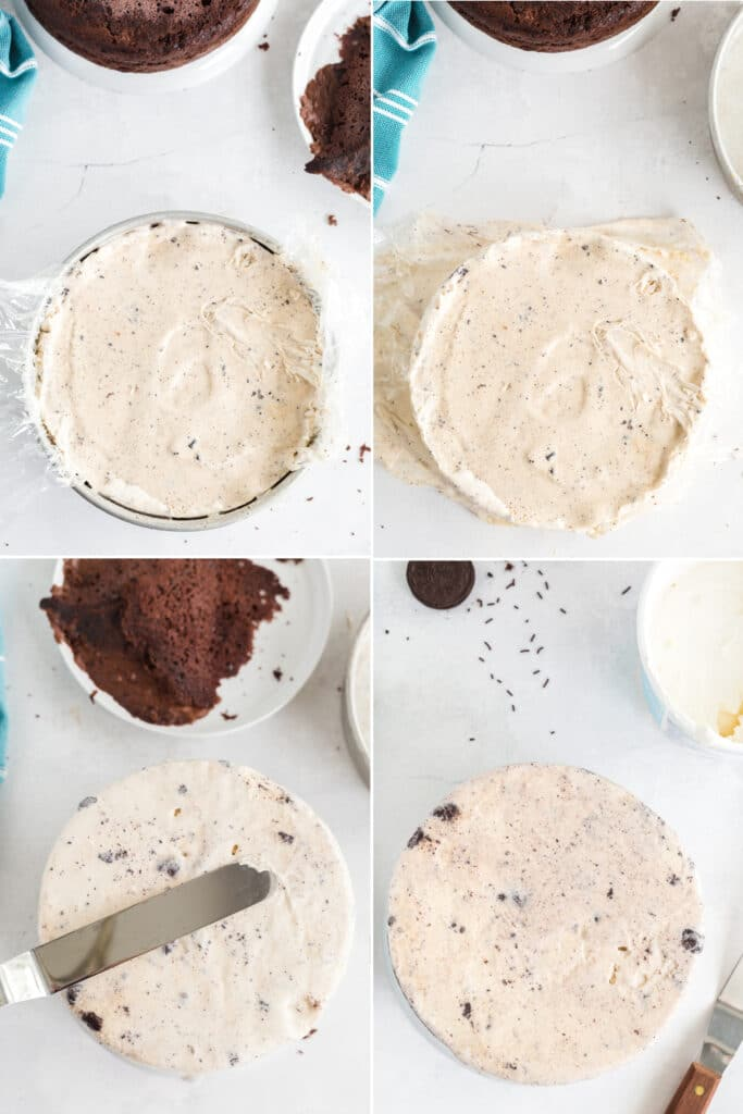 step by step photo collage of removing ice cream layer from pan and stacking it on top of cake and smoothing it down and around sides