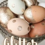 natural eggs decorated with glitter in a silver dish with text overlay