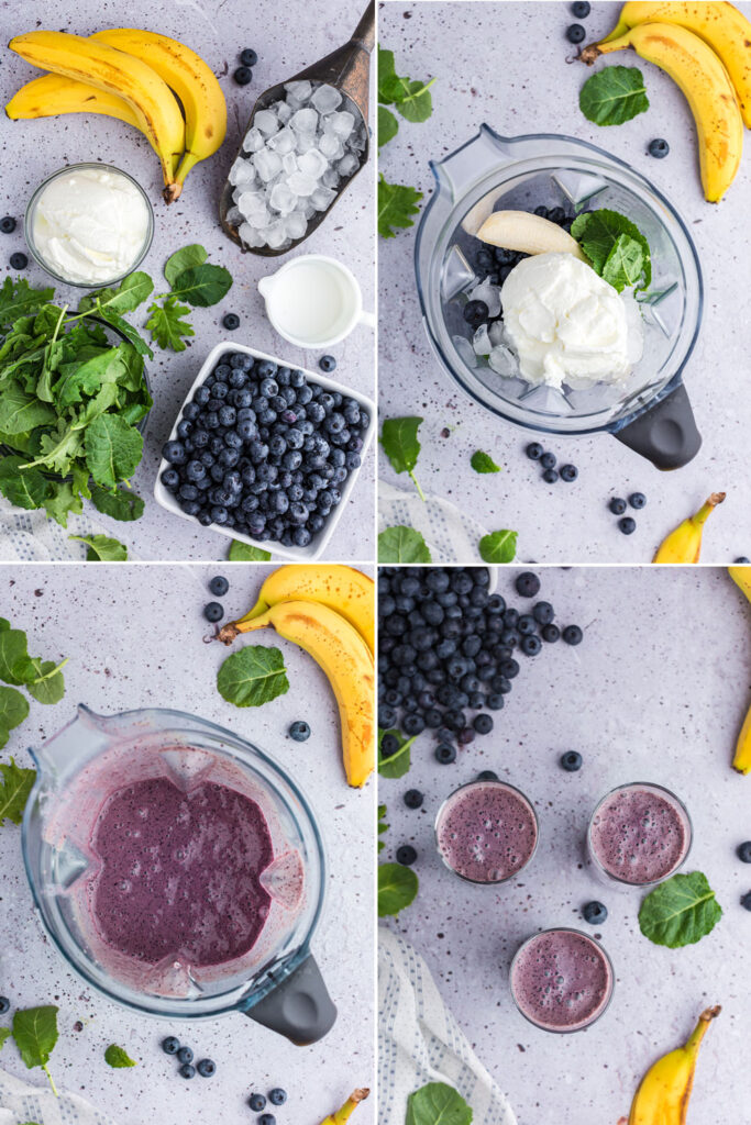 photo collage of steps to make blueberry kale smoothie: bananas, yogurt, kale, blueberries, and ice, then placed in blender, blended together, and in three glasses