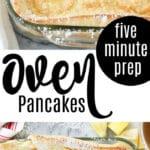 golden puff pancake in glass baking dish sprinkled with powdered sugar, lemon garnish, text overlay