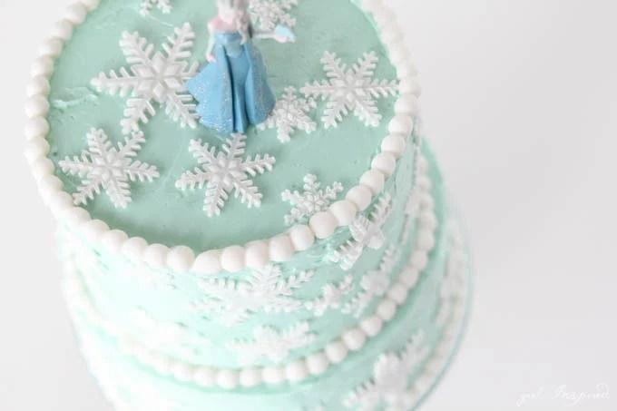Frozen Inspired Snowflake Cake