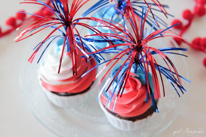 Patriotic Cupcakes - swirl together red, white, and blue for these stand-out cupcakes!