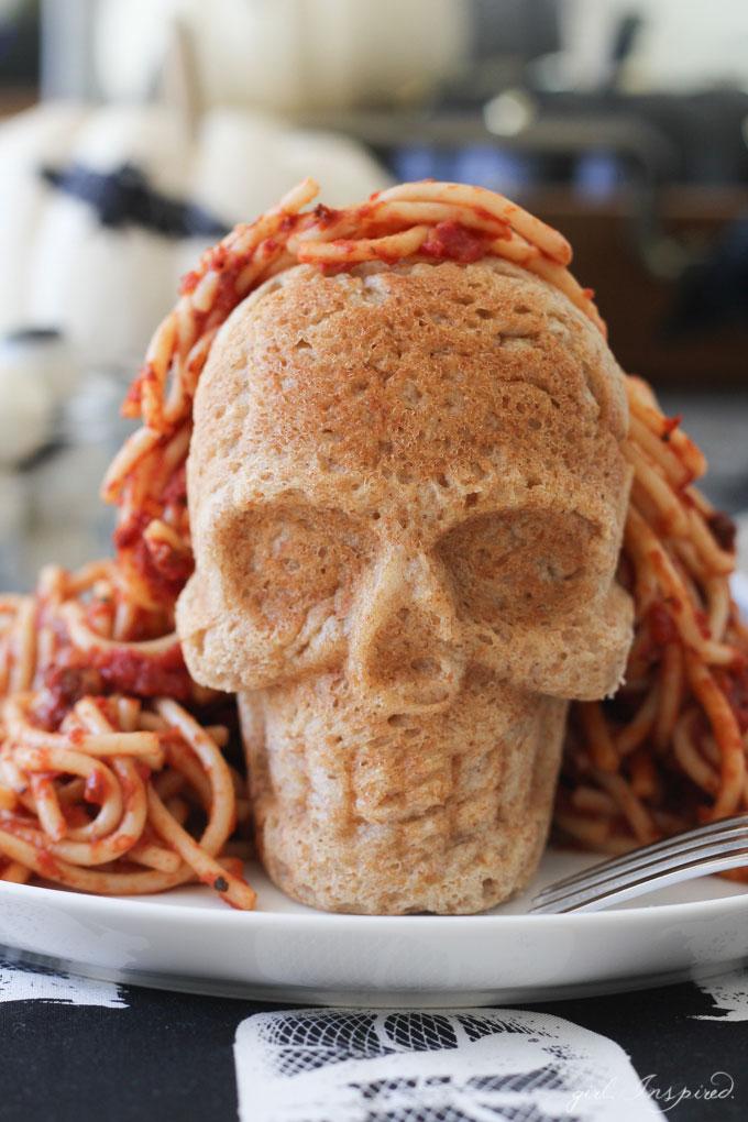 Homemade Spaghetti with a Skull Bun - Trick or Treat?