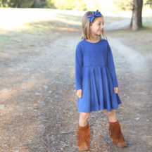 Step-by-step tutorial to make this darling knit twirl dress by altering a basic dress pattern.