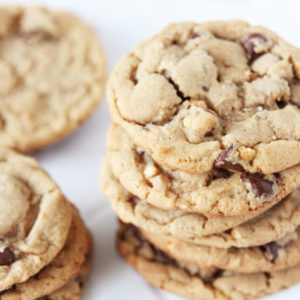 stacked penaut butter chocolate chip cookies