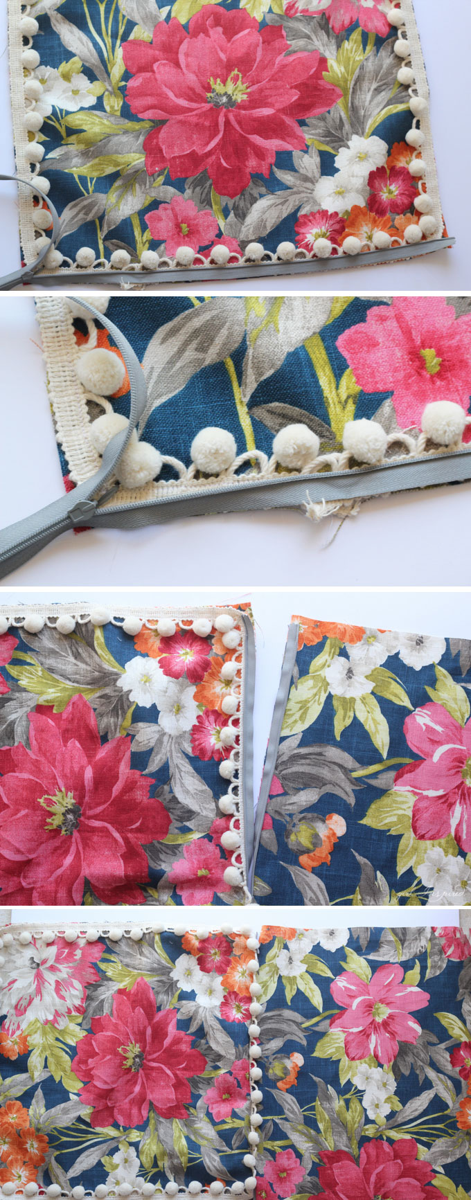 photo collage of step by step sewing a zipper into blue floral pillow cover