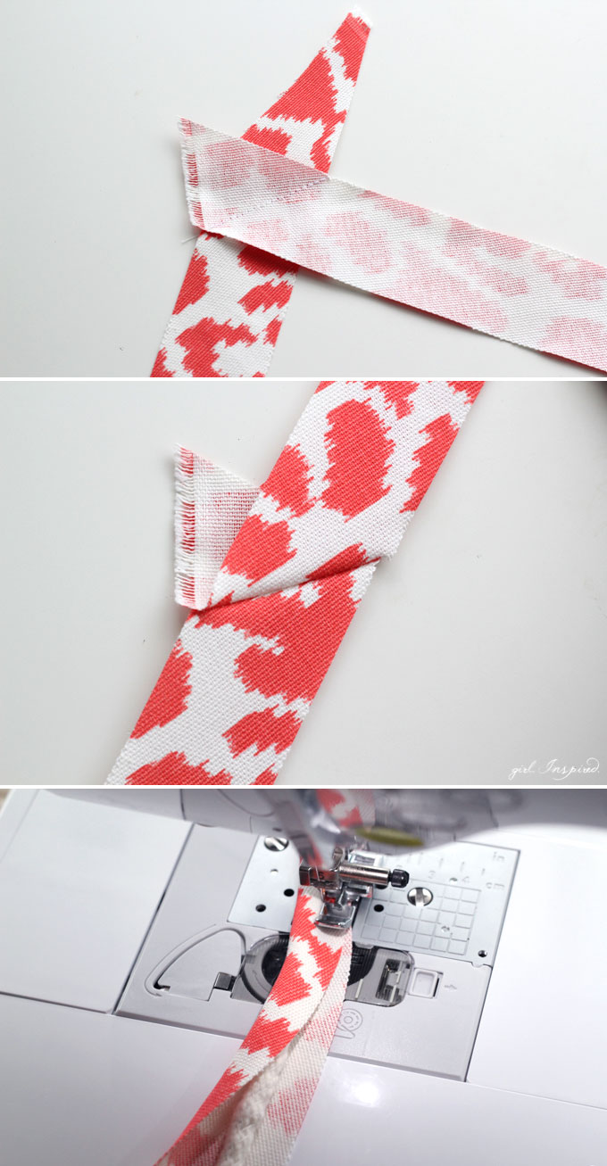 photo collage of strips of coral and white fabric sewn together to make custom piping