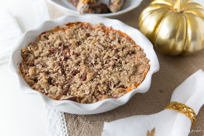 Skip the steamed sweet potatoes and serve these holiday Yams with an absolutely delicious brown sugar pecan streusel.
