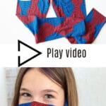 red and blue leggings and girl wearing face mask made from leggings with text overlay