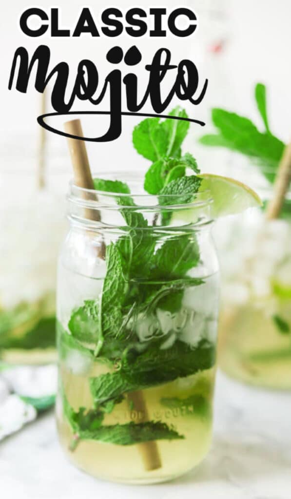 mojito with mint and lime in mason jar with text overlay