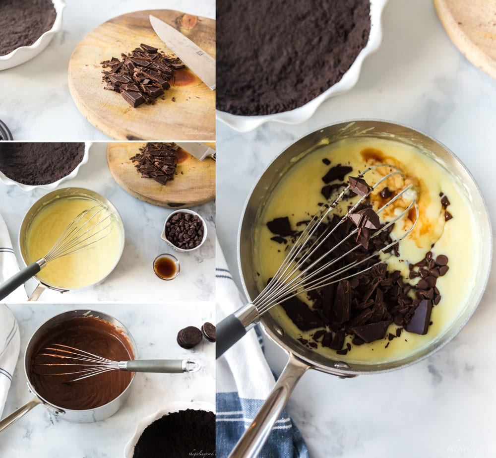 photo collage of chocolate chopped on cutting board, mixing chocolate and vanilla into saucepan of pie filling with a whisk, and the pie filling in pan