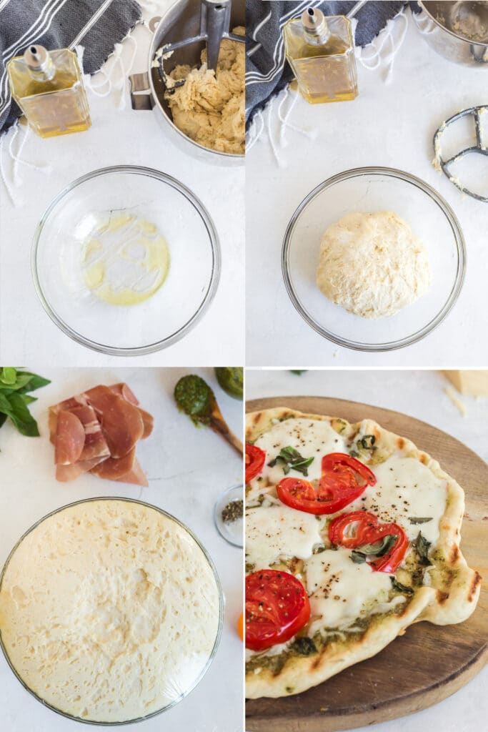 photo collage of glass bowl with olive oil, ball of dough in glass bowl, puffy dough in glass bowl with saran wrap and pizza ingredients in background, finished cooked pizza with tomatoes and cheese on wooden board