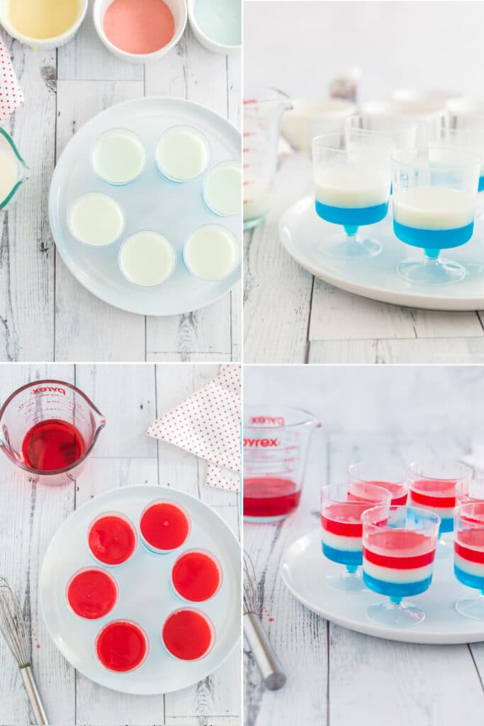photo collage of white layer of jello on top of blue and then red layer on top of the white