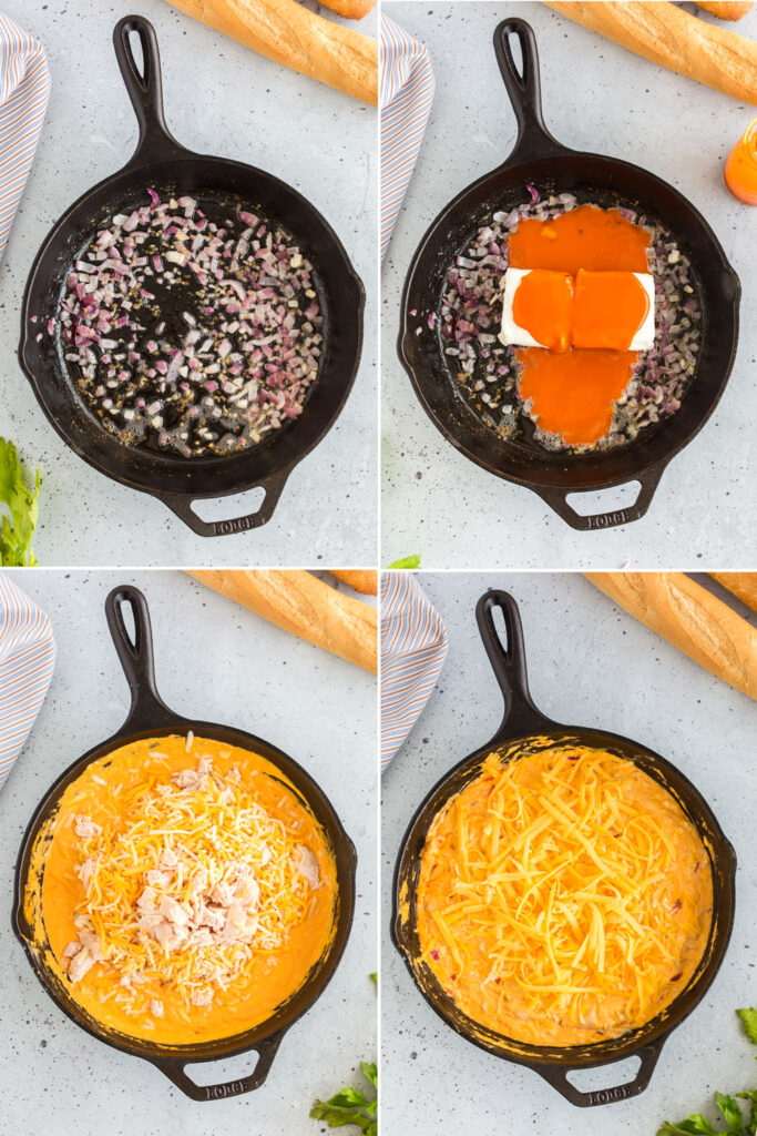 photo collage of overhead images of skillet with onions sauteed, cream cheese and sauce added, chicken and cheese added