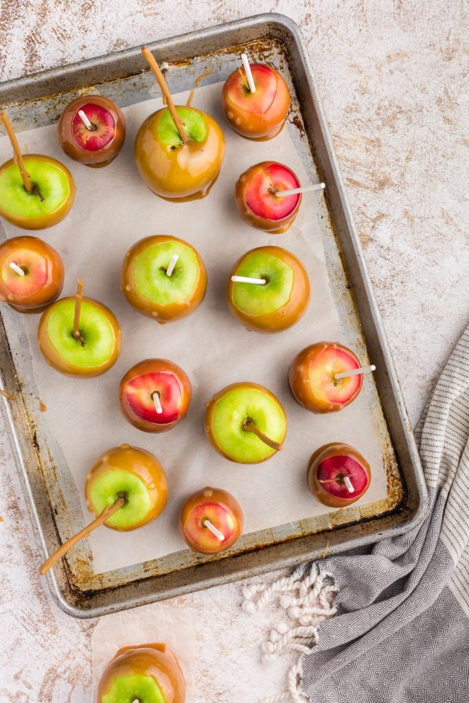 overhead view of baking sheet with green and red caramel apples